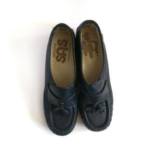 SAS Navy Blue Slip-On Wedge Loafer, Size 5.5
